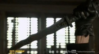 "A gloved hand holds the dagger (from promo for 2x16 ""The Miller's Daughter"""