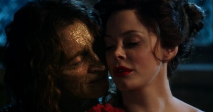 "Rumpelstiltskin and Cora at the spinning wheel after she discovers she has turned the straw into gold.  ""Don't stop,"" Rumpel says, ""until they are on their knees."""