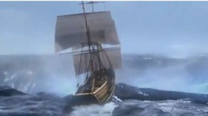 Hook's ship about to fall into the portal to Neverland (end of Season 2)